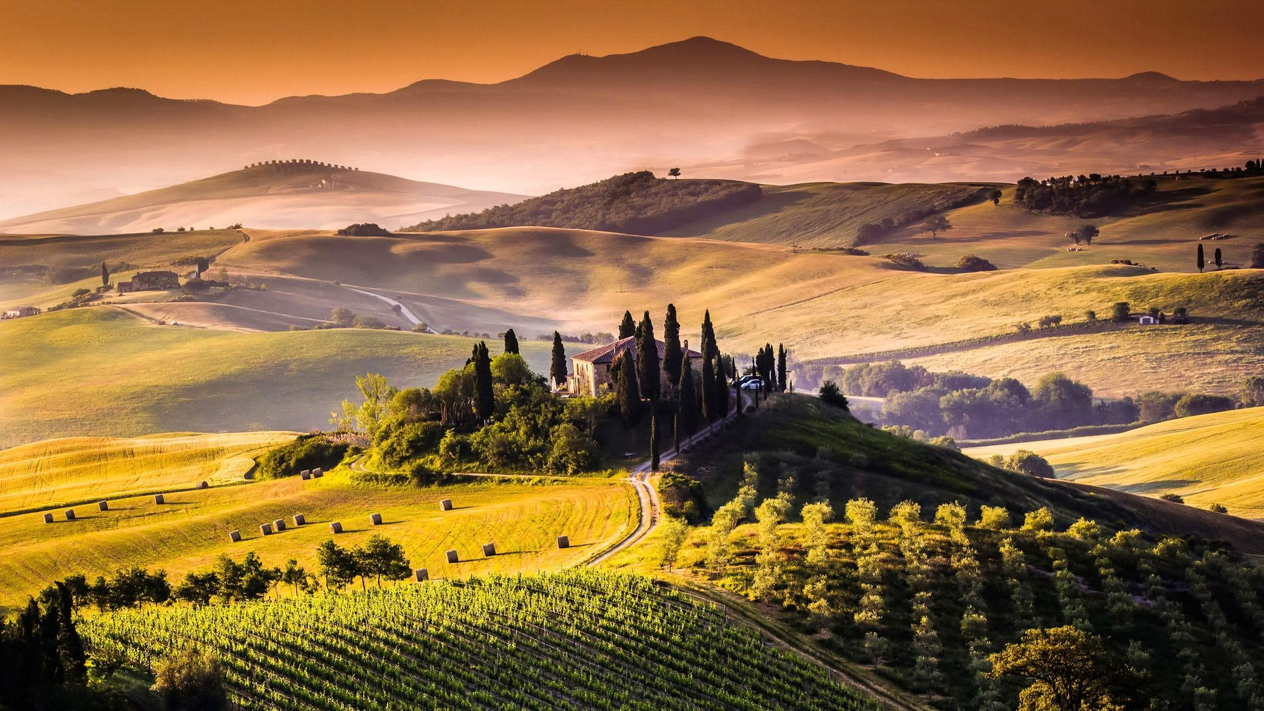 Rolling hills of Tuscany Italy
